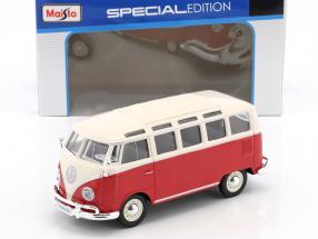 Volkswagen VW Samba Bus rot / weiß 1:24 Maisto