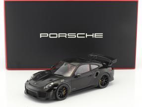 Porsche 911 (991 II) GT2 RS Weissach Package Baujahr 2017 schwarz mit Vitrine 1:18 Spark