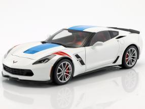 Chevrolet Corvette C7 Grand Sport year 2017 white with blue stripes 1:18 AUTOart