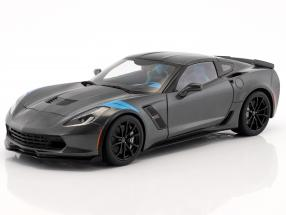 Chevrolet Corvette C7 Grand Sport year 2017 gray metallic with black stripes 1:18 AUTOart