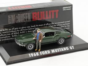 Ford Mustang GT year 1968 Movie Bullitt (1968) green metallic with figure S. McQueen 1:43 Greenlight