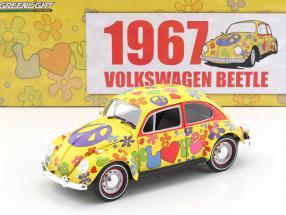 Volkswagen VW Käfer Hippie RHD Baujahr 1967 gelb / flowerpower 1:18 Greenlight