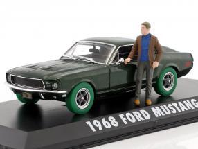 Ford Mustang GT year 1968 Movie Bullitt (1968) green metallic / green tire With figure 1:43 Greenlight