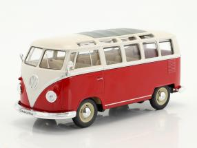 Volkswagen VW T1 bus year 1963 red / white 1:24 Welly