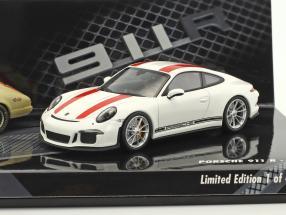 2-Car Set Porsche 911 R Monza 1967 & Porsche 911 R 2016 weiß / rot 1:43 Minichamps