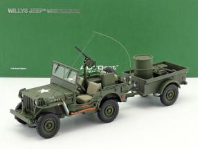 Jeep Willy Year 1943 with Functions and Accessories army green 1:18 AUTOart
