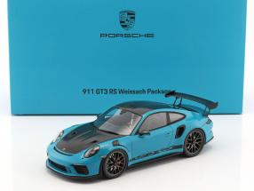 Porsche 911 (991 II) GT3 RS Weissach Package miami blue / black with showcase 1:18 Spark