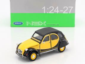 Citroen 2CV 6 Charleston Construction year 1982 yellow / black 1:24 Welly