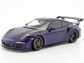 Porsche 911 (991) GT3 RS Construction year 2015 ultraviolet with black stripes 1:18 Minichamps