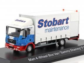 MAN 4-Wheel Box Van Sammy Shammy F1521 Stobart weiß / blau 1:76 Atlas