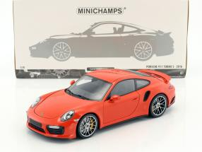 Porsche 911 (991 II) Turbo S Baujahr 2016 orange 1:18 Minichamps