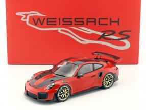 Porsche 911 (991 II) GT2 RS Weissach Package 1:18 indischrot mit Vitrine und GT2 RS Cap 1:18 Spark