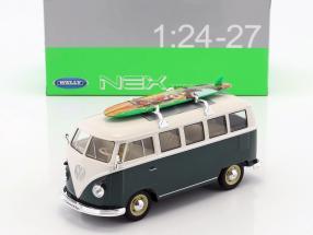 Volkswagen VW T1 Bus mit Surfbrett Baujahr 1963 grün / weiß 1:24 Welly