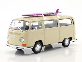 Volkswagen VW T2 Bus with surfboard year 1972 cream 1:24 Welly