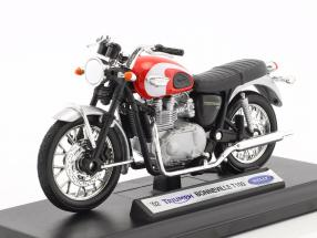 Triumph Bonneville T100 year 2002 red / silver / black 1:18 Welly
