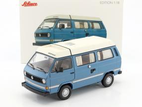 Volkswagen VW T3a Joker camper with folding roof medium blue / white 1:18 Schuco