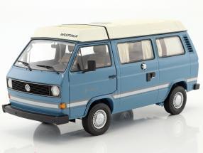 Volkswagen VW T3a Joker Campingbus mit Faltdach mediumblau / weiß 1:18 Schuco