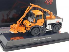 Mercedes-Benz Unimog U 400 / Mulag MKM 700 with wower orange 1:50 NZG