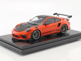 Porsche 911 (991 II) GT3 RS Weissach Package 2018 mit Vitrine lava orange 1:12 Spark