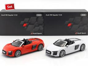 2-Car Set Audi R8 Spyder V10 suzuka gray & dynamite red 1:18 iScale