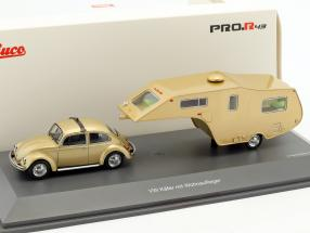 Volkswagen VW Beetle With Caravan gold metallic 1:43 Schuco