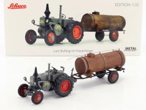Lanz Bulldog with manure trailer gray / brown 1:32 Schuco