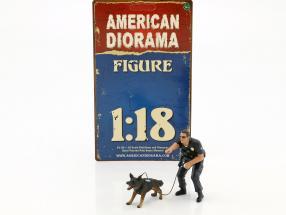 Police K9 Unit Set II: Police Officer and K9 Dog 1:18 American Diorama