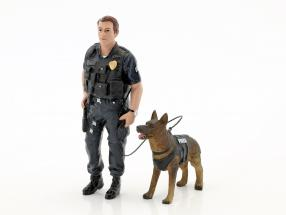 Police K9 Unit Set I: Police Officer and K9 Dog 1:18 American Diorama