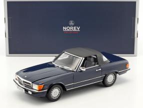 Mercedes-Benz 300 SL (R107) Cabriolet mit Softtop Baujahr 1986 dunkelblau 1:18 Norev