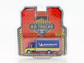 International DuraStar Box Van Michelin Baujahr 2013 blau / gelb 1:64 Greenlight