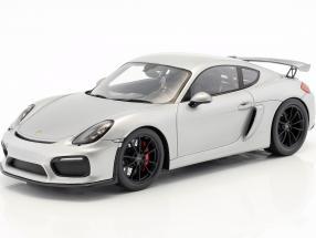 Porsche 981 Cayman GT4 year 2016 silver 1:18 Spark