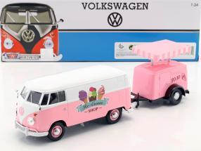 Volkswagen VW Type 2 T1 van Ice Cream Set pink / white 1:24 MotorMax