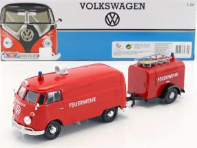 Volkswagen VW T2 Van Feuerwehr Set rot 1:24 MotorMax