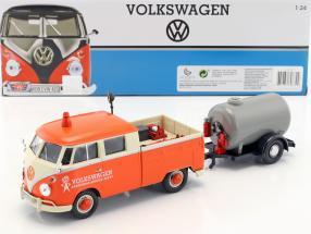 Volkswagen VW Type 2 T1 Pick-Up Road Service Set orange / cream / gray 1:24 MotorMax