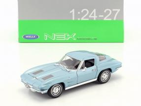 Chevrolet Corvette year 1963 light blue metallic 1:24 Welly