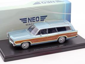 Ford LTD Country Squire year 1968 light blue metallic with wood look 1:43 Neo