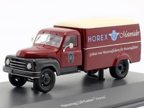 Hanomag L28 box van with Horex Regina and Driver figure red / beige / black 1:43 Schuco