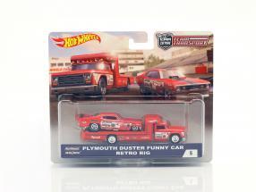 2-Car Set Transporter Retro Rig mit Plymouth Duster Funny Car rot 1:64 HotWheels