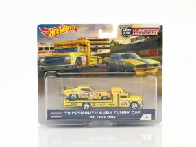 2-Car Set transporter Retro Rig with Plymouth Cuda Funny Car year 1972 yellow 1:64 HotWheels