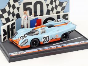 Porsche 917K #20 50th Anniversary Gulf Racing 24h LeMans 1970 mit Figur & Werbebande 1:43 Brumm
