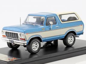 Ford Bronco year 1978 blue metallic / white 1:43 PremiumX