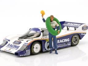 Stefan Bellof Driver figure with winner garland 1:18 FigurenManufaktur