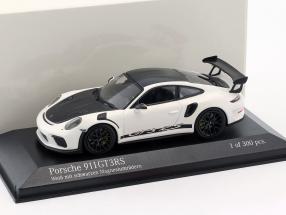 Porsche 911 (991 II) GT3 RS Baujahr 2018 weiß mit schwarzen Rädern 1:43 Minichamps