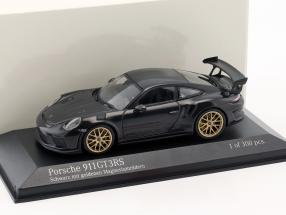 Porsche 911 (991 II) GT3 RS year 2018 black with golden magnesium wheels 1:43 Minichamps