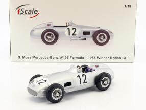 Stirling Moss Mercedes-Benz W196 #12 Winner British GP Formel 1 1955 1:18 iScale
