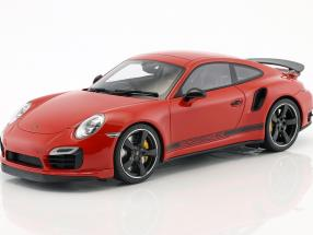 Porsche 911 (991) Turbo S Exclusive GB Edition RHD red With Showcase 1:18 GT-Spirit