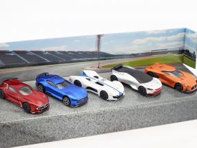 5-Car Set Vision Gran Turismo rot / blau / weiß / silber / orange 1:64 Majorette