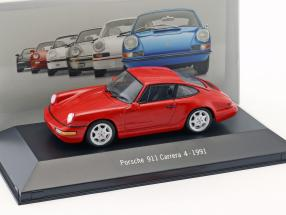 Porsche 911 (964) Carrera 4 year 1991 red 1:43 Atlas