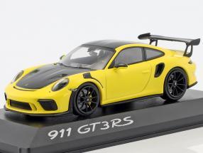 Porsche 911 (991 II) GT3 RS Weissach package year 2018 yellow / black 1:43 Minichamps