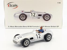 S. Moss Mercedes-Benz W196 #12 formula 1 1955 with driver figure blue shirt 1:18 iScale